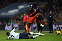 Benjamin Mendy of Manchester City and Moussa Sissoko of Tottenham Hotspur during Tottenham Hotspur vs Manchester City, Premier League Football at Wembley Stadium on 29th October 2018