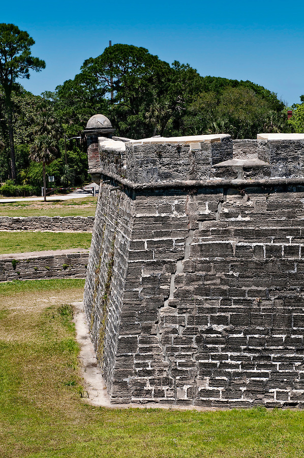 View of side of San Marcos Castle, National Monument, in Saint Augustine, Florida.