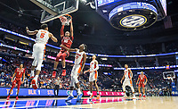 NWA Democrat-Gazette/BEN GOFF @NWABENGOFF<br /> Daniel Gafford, Arkansas forward, dunks as KeVaughn Allen (5) and Dontay Bassett (21) of Florida defend in the first half Thursday, March 14, 2019, during the second round game in the SEC Tournament at Bridgestone Arena in Nashville.
