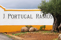 Sign on the entrance gate. J Portugal Ramos Vinhos, Estremoz, Alentejo, Portugal