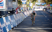Jolien Verschueren (BEL/Decock Woningbouw) crossing the finish line in 2nd place<br /> <br /> Koppenbergcross 2014