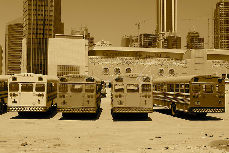 Old school buses used for construction workers, City Centre Mall, West Bay, Doha, Qatar | Mar 10
