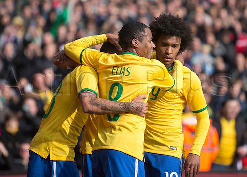 29.03.2015.  London, England. International Friendly. Brazil versus Chile. The Brazil players celebrate their opening goal.