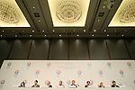 (L to R) Aki Taguchi, Yuki Ota, Mitsunori Torihara, Tsunekazu Takeda,  Naoki Inose, Hakubun Shimomura, Masato Mizuno, Yuko Arakida, MARCH 7, 2013 : Tokyo Governor Naoki Inose and Tokyo 2020 bid Committee member attend a Press conference about presentations of Tokyo 2020 bid Committee in Tokyo, Japan. (Photo by Yusuke Nakanishi/AFLO SPORT).