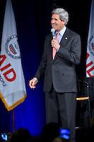 February 15, 2013  (Washington, DC)  U.S. Secretary of State John Kerry addresses employees of the U.S. Agency for International Development (USAID) at the Ronald Reagan Building in Washington.  (Photo by Don Baxter/Media Images International)