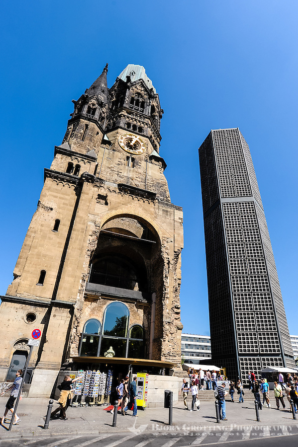Berlin, Germany. Kaiser Wilhelm Memorial Church Kurfürstendamm in the centre of the Breitscheidplatz. Bombed in 1943 during WW2.