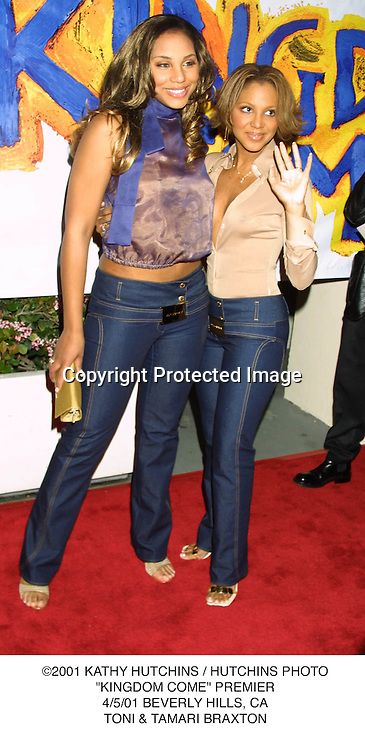 "©2001 KATHY HUTCHINS / HUTCHINS PHOTO.""KINGDOM COME"" PREMIER.4/5/01 BEVERLY HILLS, CA.TONI & TAMARI BRAXTON"
