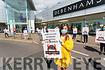 Kim Fitzgerald,(foreground) Debenhams staff protesting outside the shop on Friday.