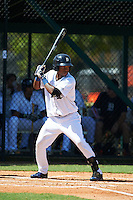 GCL Tigers outfielder Jose Azocar (20) at bat during the first game of a doubleheader against the GCL Yankees 1 on August 5, 2015 at Tigertown in Lakeland, Florida.  GCL Tigers derated the GCL Yankees 5-2.  (Mike Janes/Four Seam Images)
