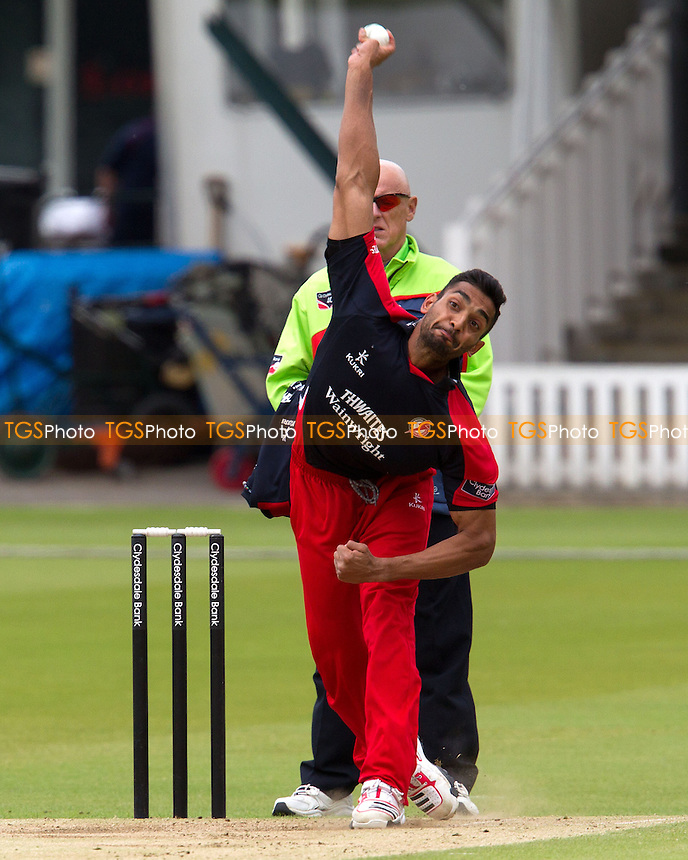Ajmal Shahzad, Lancashire CCC in action - Middlesex Panthers vs Lancashire Lightning - Clydesdale Bank CB40 Cricket at Lords Ground, London - 10/06/12 - MANDATORY CREDIT: Ray Lawrence/TGSPHOTO - Self billing applies where appropriate - 0845 094 6026 - contact@tgsphoto.co.uk - NO UNPAID USE.