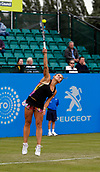 June 12th 2017,  Nottingham, England; WTA Aegon Nottingham Open Tennis Tournament day 3; Qualifier Jana Fett of Croatia serves at match point against  Mona Barthel of Germany; Fett won 6-3 5-7 7-5 Fett saved 3 match points before winning