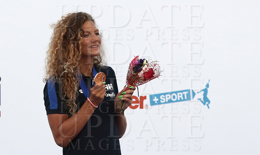 Swimming 55° Settecolli trophy Foro Italico, Rome on June 30, June 2018.<br /> Swimmer Ilaria Cusinato, of Italy, shows the gold medal after winning the women's 400 meters Individual Medley at the Settecolli swimming trophy in Rome, on June 30, 2018.<br /> UPDATE IMAGES PRESS/Isabella Bonotto