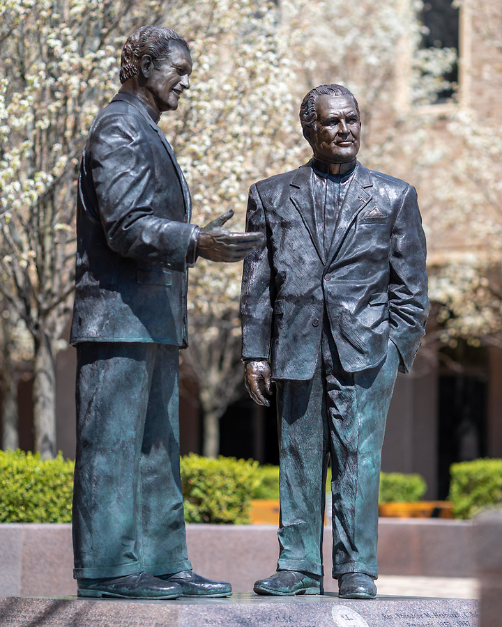 April 16, 2020; Statues of Rev. Edmund Joyce, C.S.C. and Rev. Theodore Hesburgh, C.S.C. (Photo by Matt Cashore/University of Notre Dame)