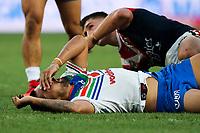 Ligi Sao goes down after a big collision. Sydney Roosters v Vodafone Warriors, NRL Rugby League. Allianz Stadium, Sydney, Australia. 31st March 2018. Copyright Photo: David Neilson / www.photosport.nz
