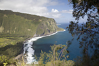 The coastline and cliffs of Waipio Valley on the Big Island of Hawaii, photographed from above