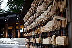 Wooden tablets o which is written the wishes of visitors hang in the forecourt of Meiji Jingu Shrine after the year's first snowfall in Tokyo, Japan on 02 Feb. 2010.
