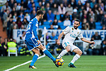 Daniel Carvajal Ramos (R) of Real Madrid fights for the ball with Adrian Lopez Alvarez of RC Deportivo La Coruna during the La Liga 2017-18 match between Real Madrid and RC Deportivo La Coruna at Santiago Bernabeu Stadium on January 21 2018 in Madrid, Spain. Photo by Diego Gonzalez / Power Sport Images