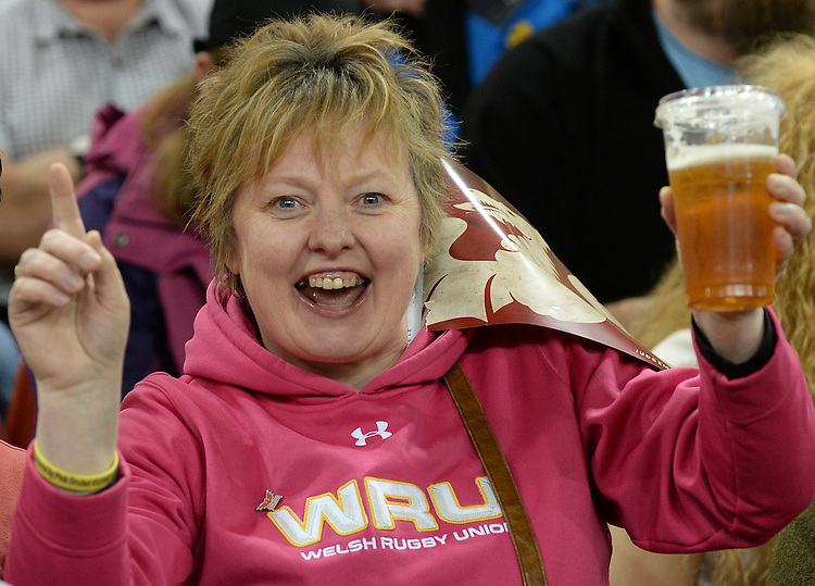 Fans enjoy the pre match atmosphere <br /> <br /> Photographer Ian Cook/CameraSport<br /> <br /> Rugby Union - Guinness PRO12 - Saturday 25th April 2015 - Cardiff Blues v Ospreys - Millennium Stadium - Cardiff<br /> <br /> &copy; CameraSport - 43 Linden Ave. Countesthorpe. Leicester. England. LE8 5PG - Tel: +44 (0) 116 277 4147 - admin@camerasport.com - www.camerasport.com