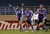 2 April 2005: Brian Ching of Earthquakes celebrates with team after scoring a goal against Revolutions during the first half of the game at Spartan Stadium in San Jose, California.   Credit: Michael Pimentel / ISI