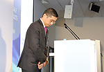 November 8, 2017, Yokohama, Japan - Japanese automobile giant Nissan Motor president Hiroto Saikawa bows his head as he apologizes that the company has been carrying out flawed inspections of their vehicles at the Nissan headquarters in Yokohama, suburban Tokyo on Wednesday, November 8, 2017. Nissan announced their first half financial result and mid term business strategy.    (Photo by Yoshio Tsunoda/AFLO) LWX -ytd-
