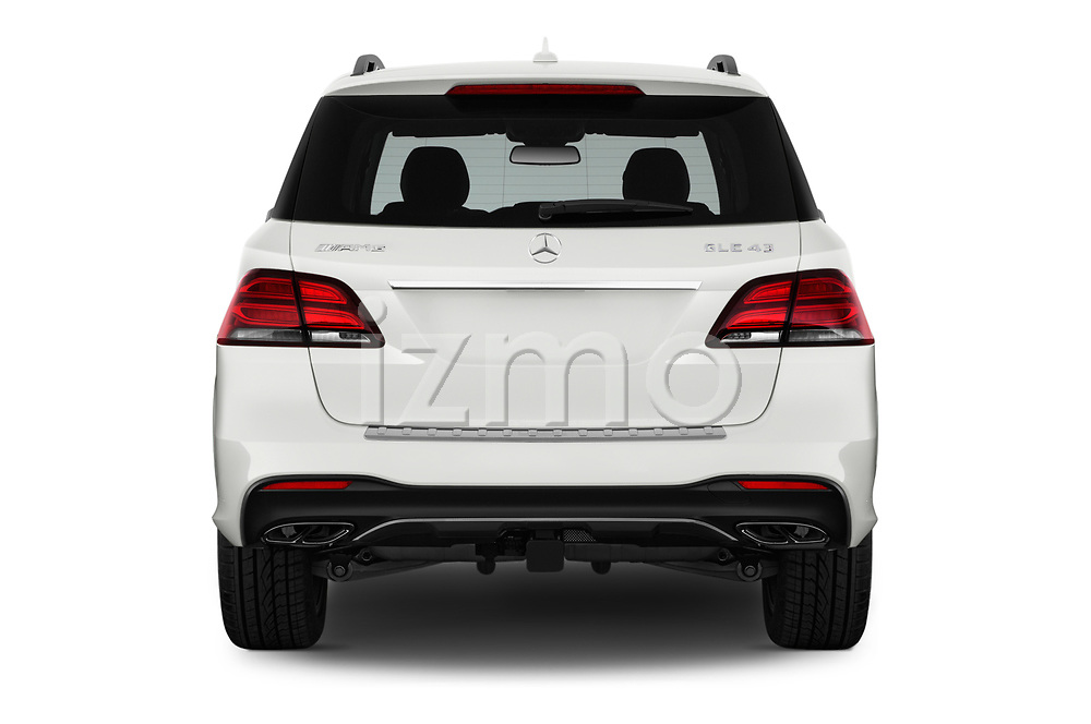 Straight rear view of 2017 Mercedes Benz GLE AMG-43 5 Door SUV Rear View  stock images