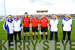 Referee John Sexton with his match officials at the County Senior Hurling Final at Austin Stack Park Tralee on Sunday.