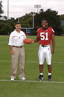 7 August 2006: Stanford Cardinal head coach Walt Harris and Fred Campbell during Stanford Football's Team Photo Day at Stanford Football's Practice Field in Stanford, CA.