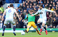Preston North End's Ryan Ledson vies for possession with Blackburn Rovers' Danny Graham<br /> <br /> Photographer Rich Linley/CameraSport<br /> <br /> The EFL Sky Bet Championship - Blackburn Rovers v Preston North End - Saturday 9th March 2019 - Ewood Park - Blackburn<br /> <br /> World Copyright © 2019 CameraSport. All rights reserved. 43 Linden Ave. Countesthorpe. Leicester. England. LE8 5PG - Tel: +44 (0) 116 277 4147 - admin@camerasport.com - www.camerasport.com