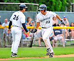 25 July 2010: Vermont Lake Monsters catcher David Freitas rounds the bases and comes home after hitting a 2-run homer in the first inning against the Tri-City ValleyCats at Centennial Field in Burlington, Vermont. The ValleyCats came from behind to defeat the Lake Monsters 10-8 in NY Penn League action. Mandatory Credit: Ed Wolfstein Photo