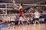 07 MAY 2016: Christian Franceschi (2) of Ohio State University keeps the play alive against Brigham Young University during the Division I Men's Volleyball Championship held at Rec Hall on the Penn State University campus in University Park, PA.  Ohio State defeated BYU 3-1 for the national title.  Ben Solomon/NCAA Photos