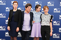 Gina McKee, Nicolas Saada, Stacy Martin and Alba Rohrwacher attend a photocall for the movie 'Taj Mahal' during the 72nd Venice Film Festival at the Palazzo Del Cinema in Venice, Italy, September 10, 2015.<br /> UPDATE IMAGES PRESS/Stephen Richie