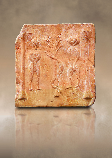 6th-7th Century Eastern Roman Byzantine  Christian Terracotta tiles depicting Adam & Eve with a serpent wrapped around a tree between them - Produced in Byzacena -  present day Tunisia. <br />