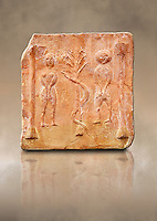 6th-7th Century Eastern Roman Byzantine  Christian Terracotta tiles depicting Adam &amp; Eve with a serpent wrapped around a tree between them - Produced in Byzacena -  present day Tunisia. <br />
