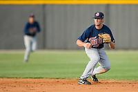 Second baseman Derek McCallum #7 of the Elizabethton Twins gets ready to field a ground ball at Burlington Athletic Park July 19, 2009 in Burlington, North Carolina. (Photo by Brian Westerholt / Four Seam Images)