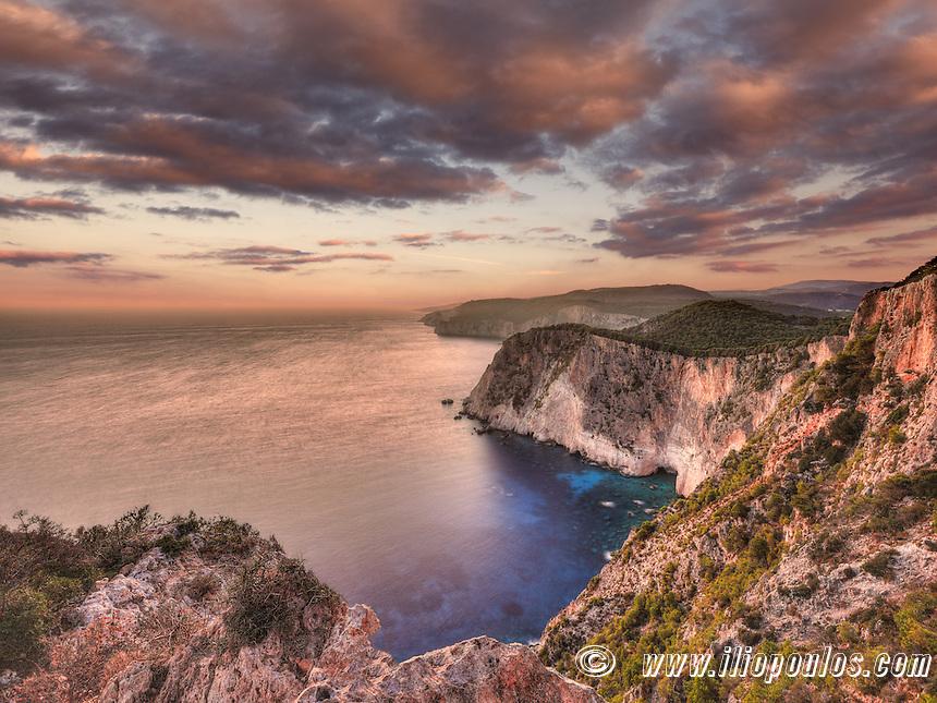 The famous sunset at Keri in Zakynthos island, Greece