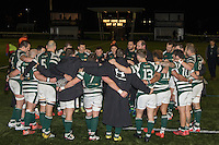 Ealing Trailfinders players in a huddle following victory in the Greene King IPA Championship match between Ealing Trailfinders and London Welsh RFC at Castle Bar , West Ealing , England  on 26 November 2016. Photo by David Horn / PRiME Media Images
