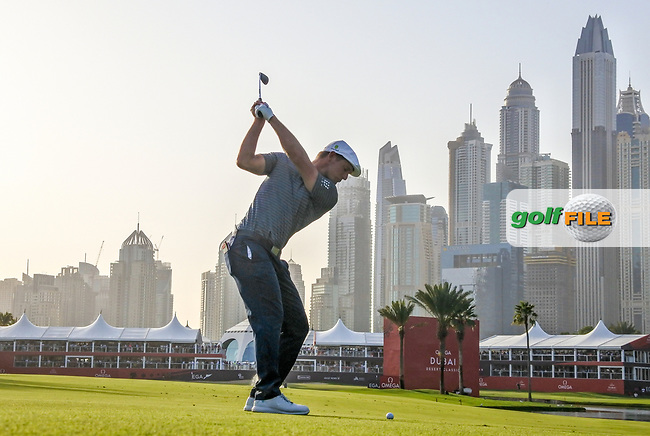 Bryson Dechambeau (USA) on the 18th fairway during Round 4 of the Omega Dubai Desert Classic, Emirates Golf Club, Dubai,  United Arab Emirates. 27/01/2019<br /> Picture: Golffile | Thos Caffrey<br /> <br /> <br /> All photo usage must carry mandatory copyright credit (© Golffile | Thos Caffrey)