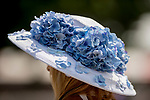 SARATOGA SPRINGS, NY - AUGUST 25: A woman wears a blue flowered hat on Travers Stakes Day at Saratoga Race Course on August 25, 2018 in Saratoga Springs, New York. (Photo by Carson Dennis/Eclipse Sportswire/Getty Images)