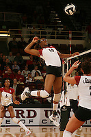 10 November 2005: Foluke Akinradewo during Stanford's 3-0 win over Arizona State at Maples Pavilion in Stanford, CA.