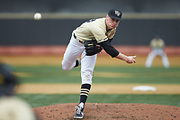Wake Forest Demon Deacons relief pitcher William Fleming (38) in action against the Notre Dame Fighting Irish at David F. Couch Ballpark on March 10, 2019 in  Winston-Salem, North Carolina. The Demon Deacons defeated the Fighting Irish 7-4 in game one of a double-header.  (Brian Westerholt/Four Seam Images)