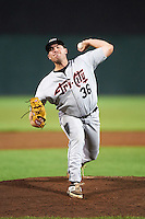 Tri-City ValleyCats relief pitcher Howie Brey (36) during a game against the Auburn Doubledays on August 25, 2016 at Falcon Park in Auburn, New York.  Tri-City defeated Auburn 4-3.  (Mike Janes/Four Seam Images)