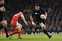 Victor Vito of New Zealand in possession. Rugby World Cup Pool C match between New Zealand and Georgia on October 2, 2015 at the Millennium Stadium in Cardiff, Wales. Photo by: Patrick Khachfe / Onside Images