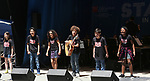 'School of Rock' cast on stage at United Airlines Presents #StarsInTheAlley free outdoor concert in Shubert Alley on 6/2/2017 in New York City.