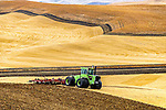 Tractor plowing in the Palouse Hills, Washington