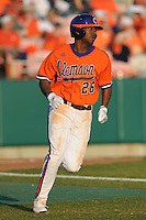 Clemson Tigers right fielder Chris Epps against the Eastern Michigan Eagles at Doug Kingsmore Stadium, Clemson, SC..Clemson won 14-3. Photo By Tony Farlow/Four Seam Images.
