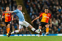 Kevin De Bruyne of Manchester City and Moraes of Shakhtar Donetsk during the UEFA Champions League Group C match between Manchester City and Shakhtar Donetsk at the Etihad Stadium on November 26th 2019 in Manchester, England. (Photo by Daniel Chesterton/phcimages.com)