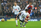 10th February 2018, Wembley Stadium, London England; EPL Premier League football, Tottenham Hotspur versus Arsenal; Mesut Ozil of Arsenal avoids Ben Davies of Tottenham Hotspur challenge