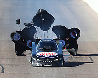 Feb 24, 2018; Chandler, AZ, USA; NHRA funny car driver Del Worsham deploys three parachutes during qualifying for the Arizona Nationals at Wild Horse Pass Motorsports Park. Mandatory Credit: Mark J. Rebilas-USA TODAY Sports