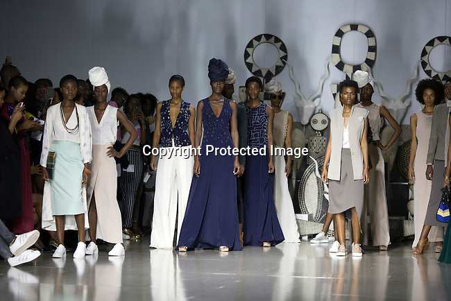 JOHANNESBURG, SOUTH AFRICA - MARCH 11: Models walking for the designer label Mille Collines during a show at Johannesburg Fashion Week week on March 11, 2016, at Nelson Mandela Square Johannesburg, South Africa. (Photo by: Per-Anders Pettersson)
