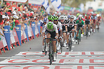 The peloton cross the finish line at the end of Stage 6 of the La Vuelta 2018, running 150.7km from Huércal-Overa to San Javier, Mar Menor, Sierra de la Alfaguara, Andalucia, Spain. 30th August 2018.<br /> Picture: Colin Flockton | Cyclefile<br /> <br /> <br /> All photos usage must carry mandatory copyright credit (© Cyclefile | Colin Flockton)